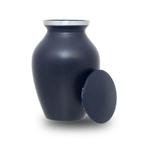 Two-Tone Dark Blue Classic Cremation Urn - Keepsake