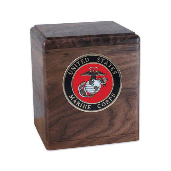 All American Walnut Wood Urn For Ashes Military