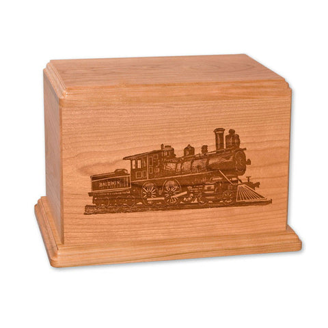 Baldwin Train Wooden Cremation Urn