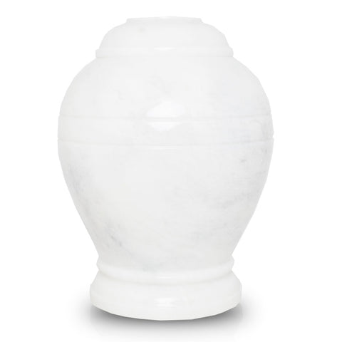 Ringed White Marble Cremation Urn - Large