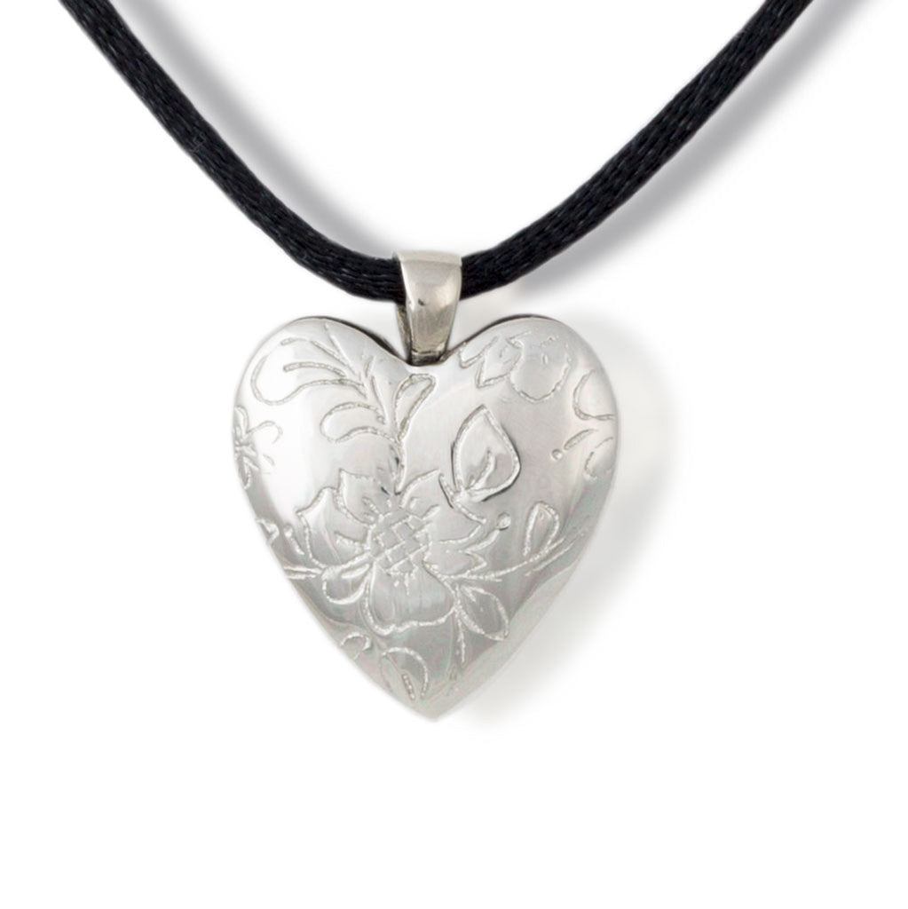 White Bronze Floral Heart Cremation Pendant