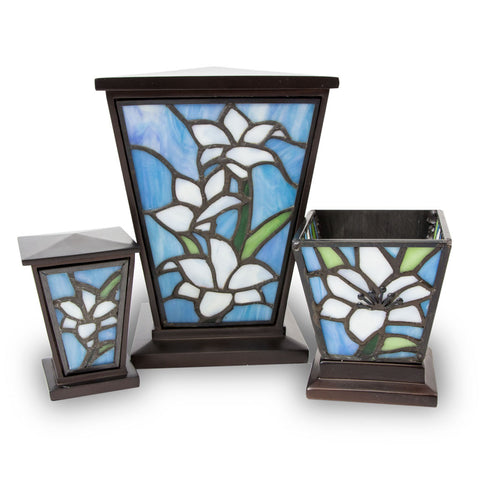 White Lily Stained Glass Cremation Urn Set-Medium