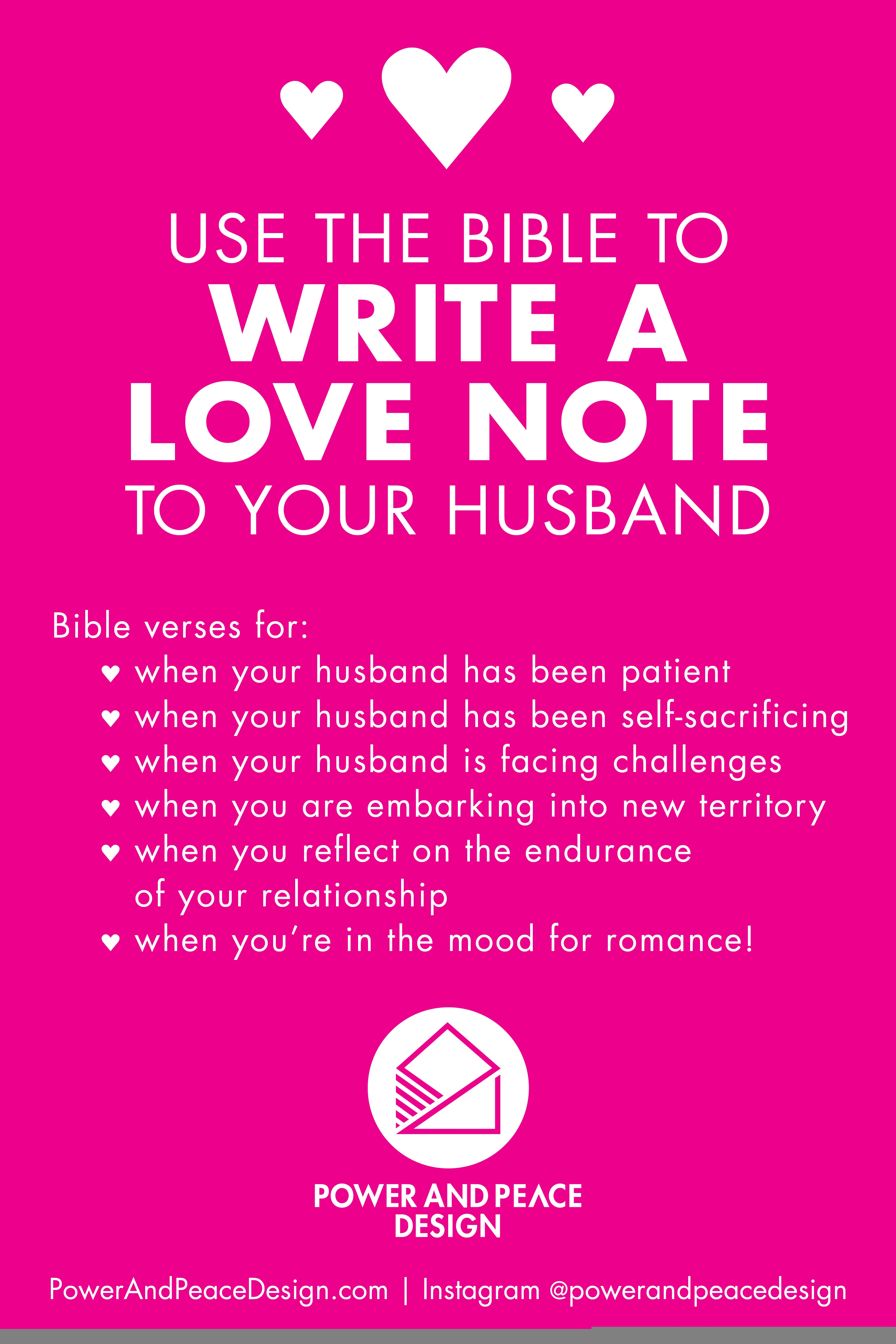 Use Scripture to write a love note to your husband