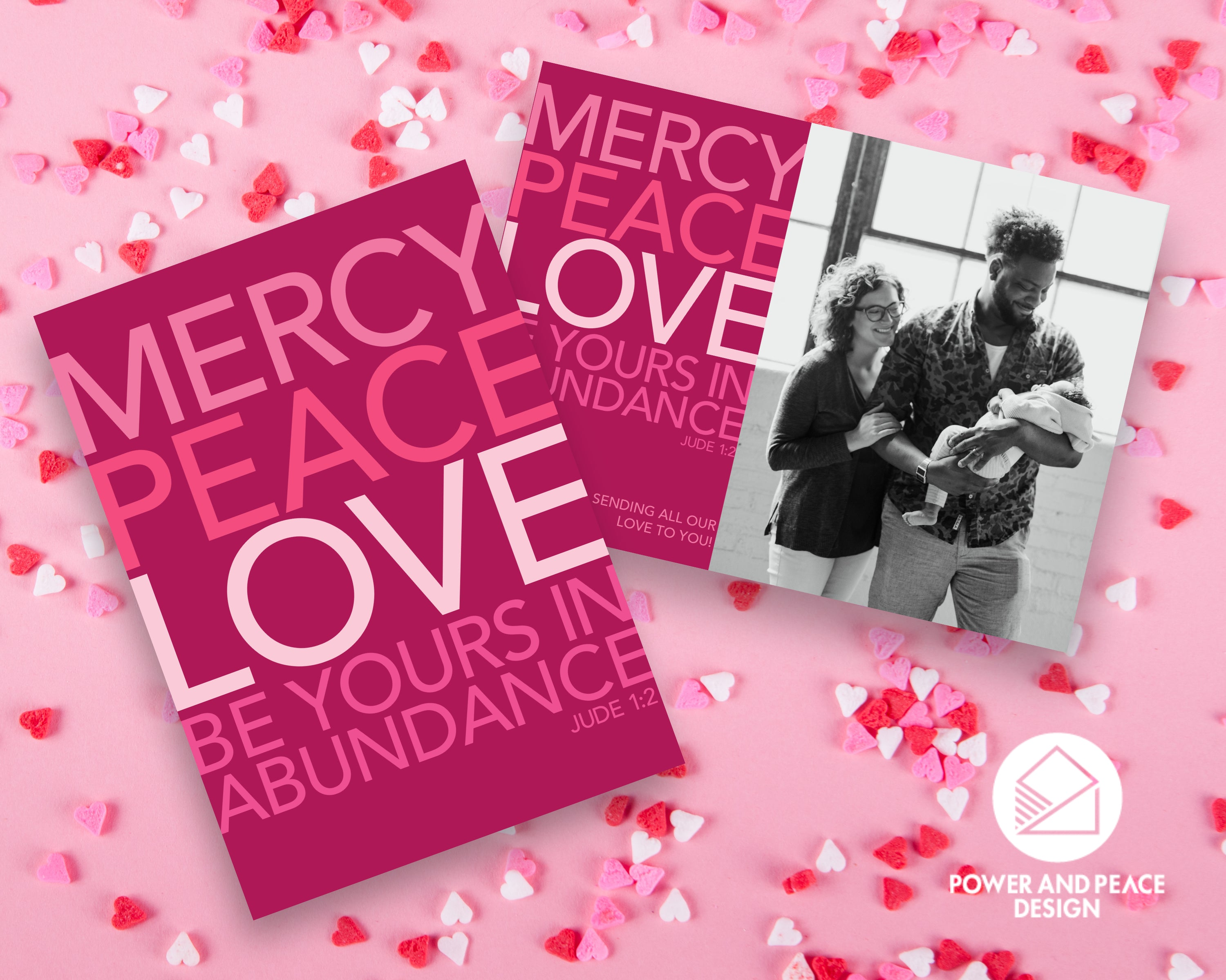 Power and Peace Design valentine cards in berry pinks