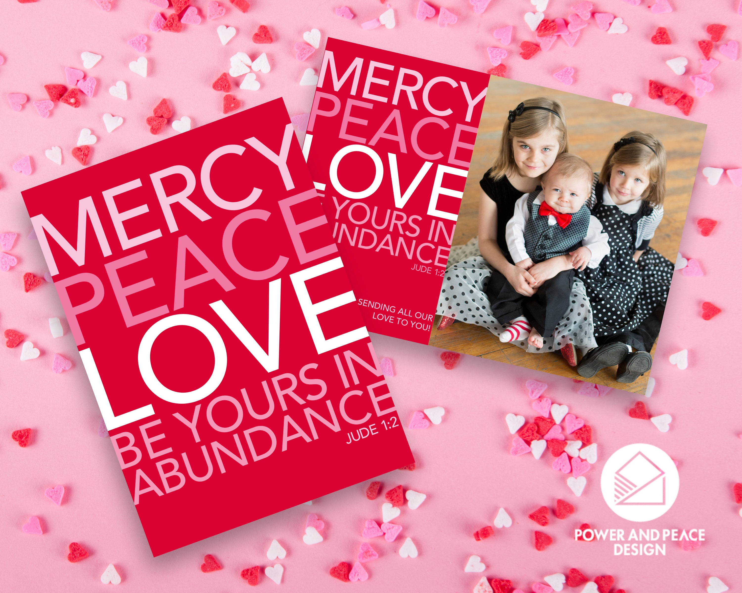Power and Peace Design valentine cards in red and pink