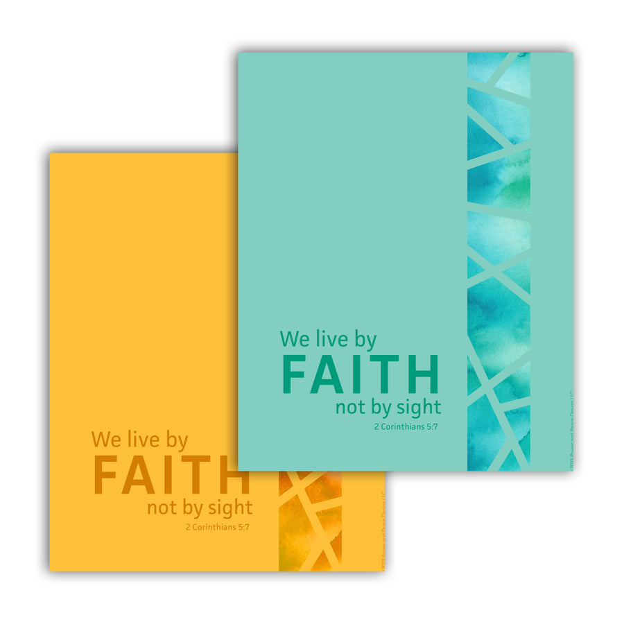 Two pieces of Bible verse art overlapped. They are the same design but different colors. Text in the bottom left reads We live by faith not by sight. 2 Corinthians 5:7. Running vertical along the right hand side is a band of watercolor separated by thin strips of solid color like modern stained glass. Top piece of art is seafoam green. Background piece of art is mustard yellow.