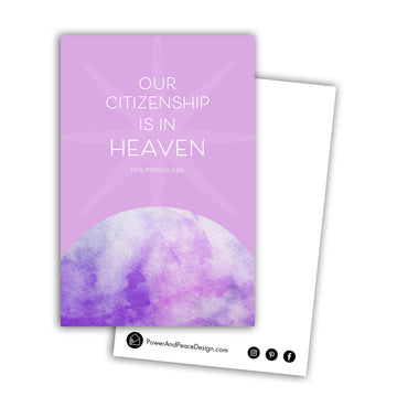 White text centered over a star shape on a lavender background reads Our citizenship is in heaven Philippians 3:20. Below the text is a curved shape filled with watercolor texture in purple and lavender. Back of postcard is white with black Power and Peace Design logo.