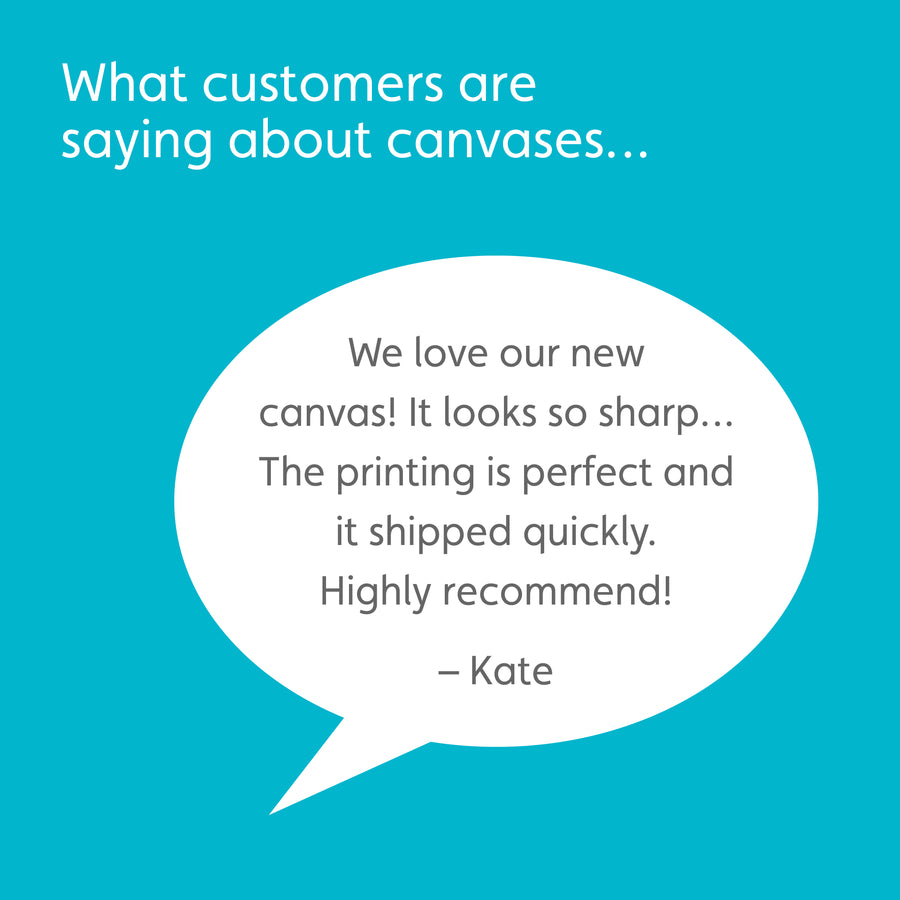 Teal box with white headline reading: What customers are saying about canvases… White speech bubble with customer quote: We love our new canvas! It looks so sharp… The printing is perfect and it shipped quickly. Highly recommend! -Kate