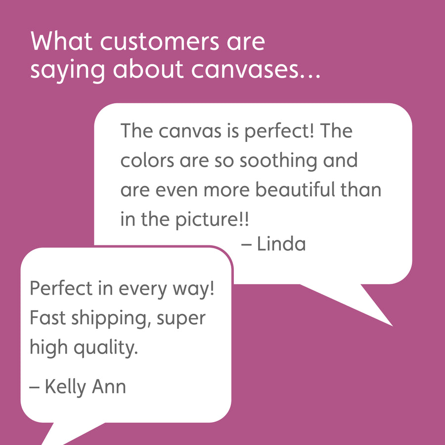Lavender box with white headline reading: What customers are saying about canvases… White speech bubbles with customer quotes: The canvas is perfect! The colors are so soothing and are even more beautiful than in the picture! – Linda. Perfect in every way! Fast shipping, super high quality. -Kelly Ann