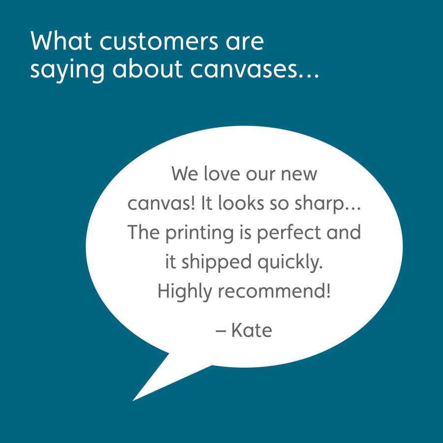 Peacock blue box with white headline reading: What customers are saying about canvases… White speech bubble with customer quote: We love our new canvas! It looks so sharp… The printing is perfect and it shipped quickly. Highly recommend! –Kate