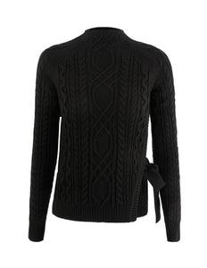 MARYLING Woolen Blend Cable Knit Crew Neck Sweater