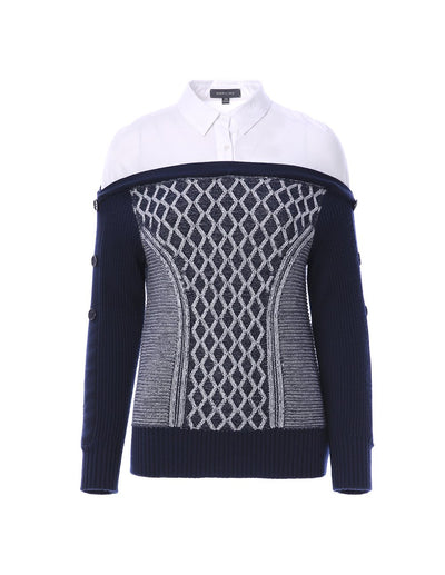 Textured knitted jumper with shirt insert (5561348063392)