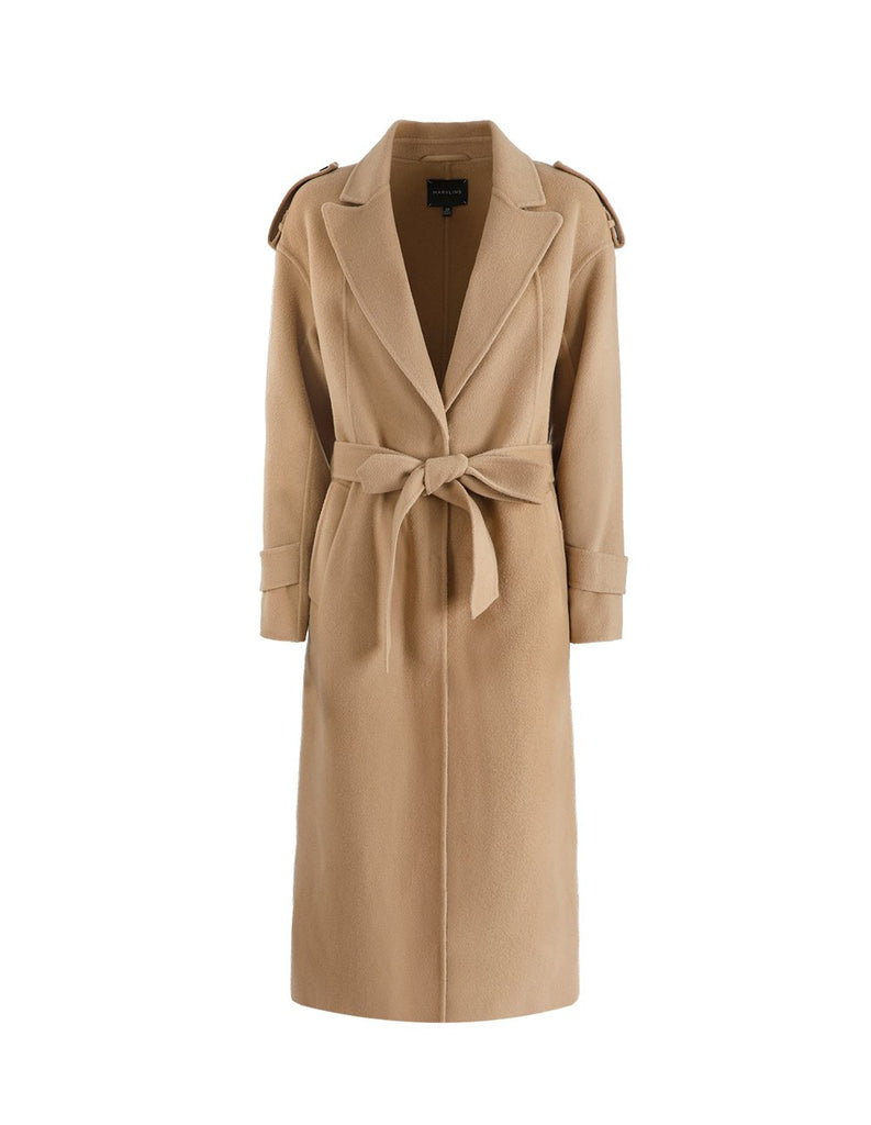 MARYLING Woolen Lapel Self Belt Long Coat