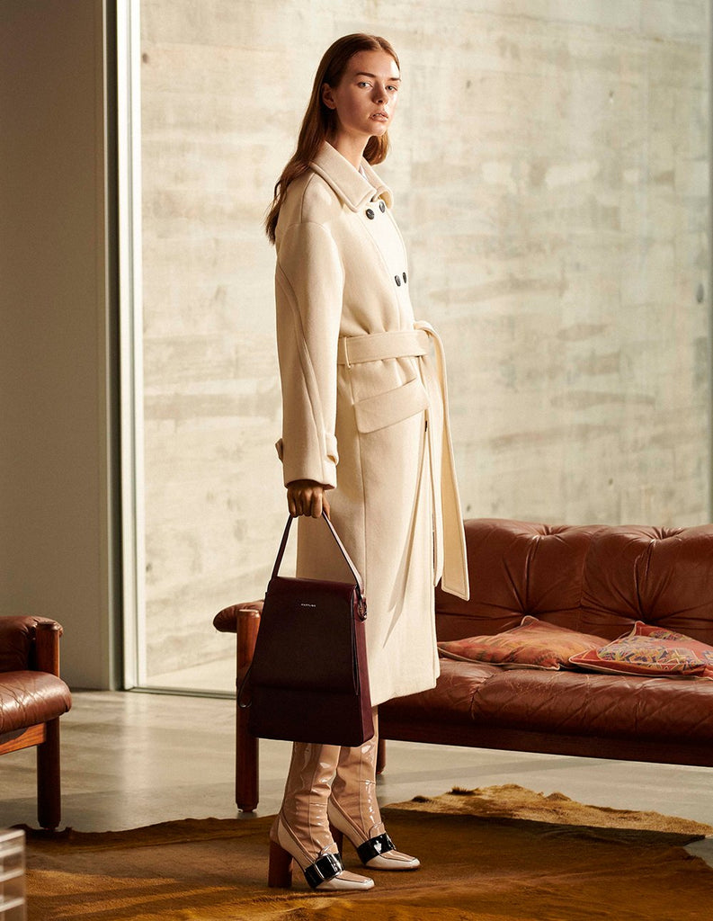 MARYLING Wool Blend Double-Breasted Tie Belt Coat