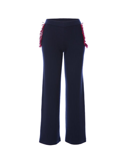 Ribbed knit trouser with frayed detailing (5561348358304)
