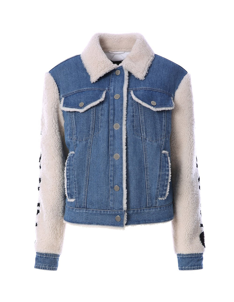 Denim jacket with shearling sleeves and collar (5561348423840)