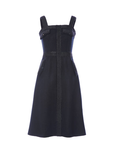 Wool strappy dress with detail edging (5561353830560)