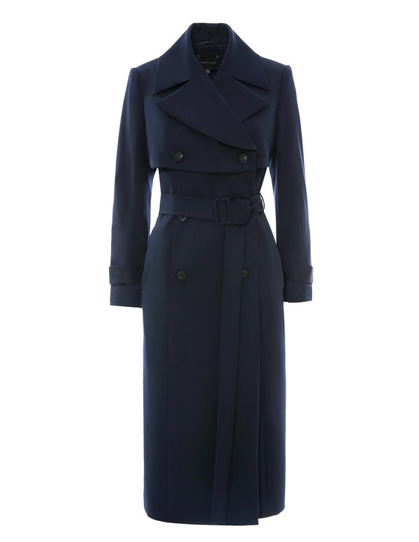 MARYLING Midnight Blue Double-Breasted Belted Trench Coat