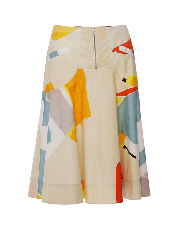 MARYLING Geometric Pattern A-Line Midi Skirt