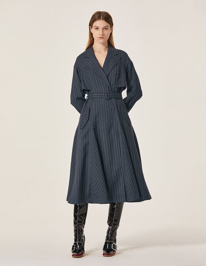 MARYLING Classic Striped Self Belt Trench Coat