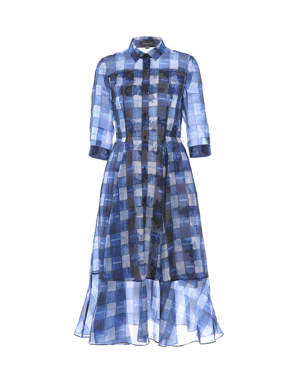 MARYLING Silk Tartan Pattern Floral Lining Lapel Collar Midi Dress