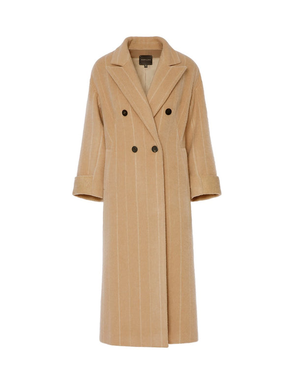 MARYLING Tan Alpaca Blend Double Breasted Pinstriped Coat