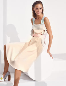 MARYLING Splicing Color Ruffle Sleeveless Belted Sling Midi Dress