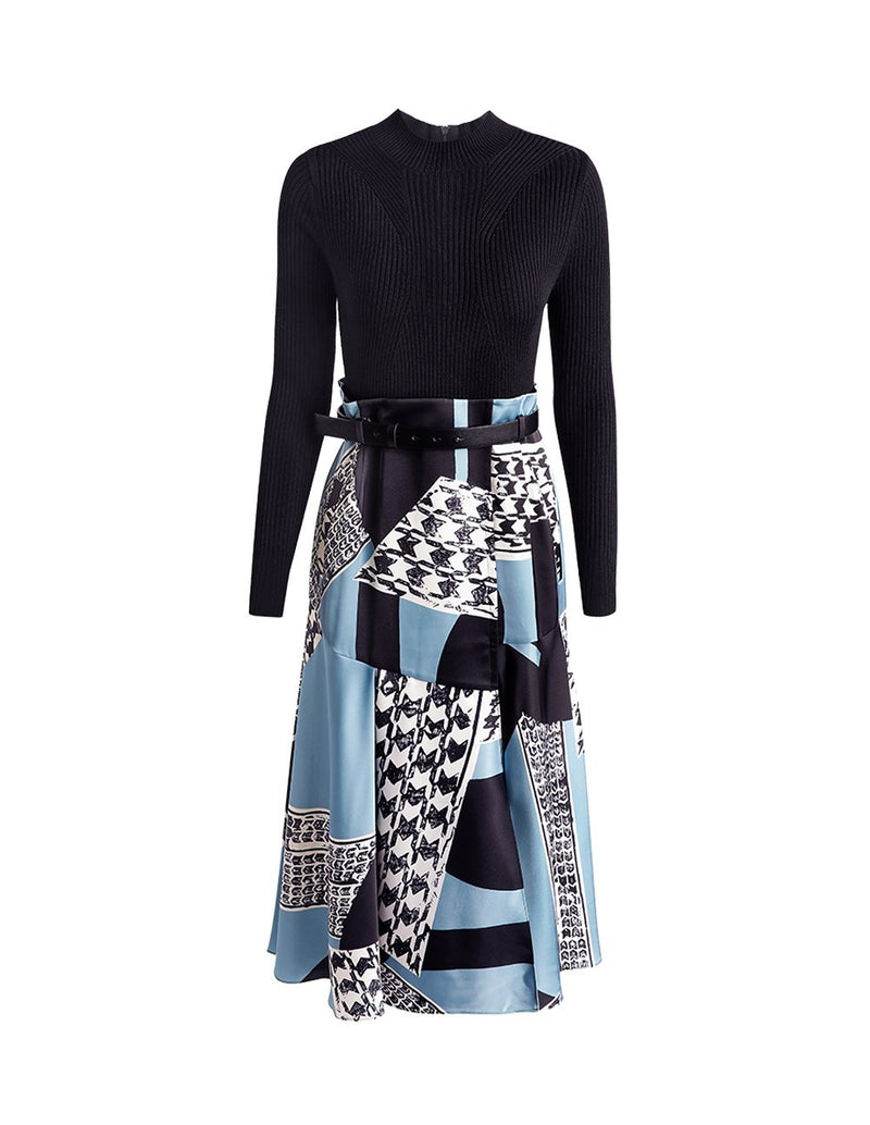 MARYLING Contrast Houndstooth Pattern Satin Skirt Knit Top Belted Midi Dress