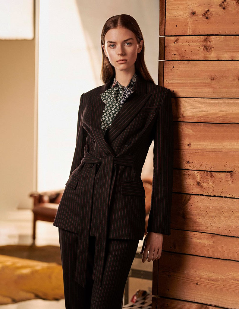 MARYLING Striped Pattern Double Breasted Tie Belt Blazer