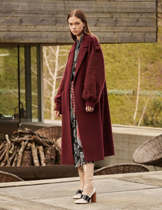 MARYLING Mohair Wool Blend Splicing Oversize Coat