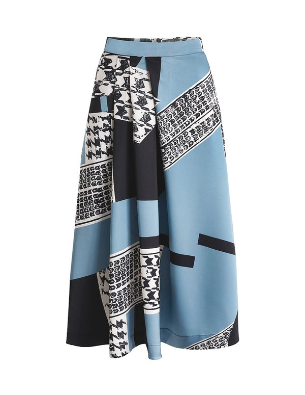 MARYLING Satin Contrast Houndstooth Geometric Pattern Midi Skirt