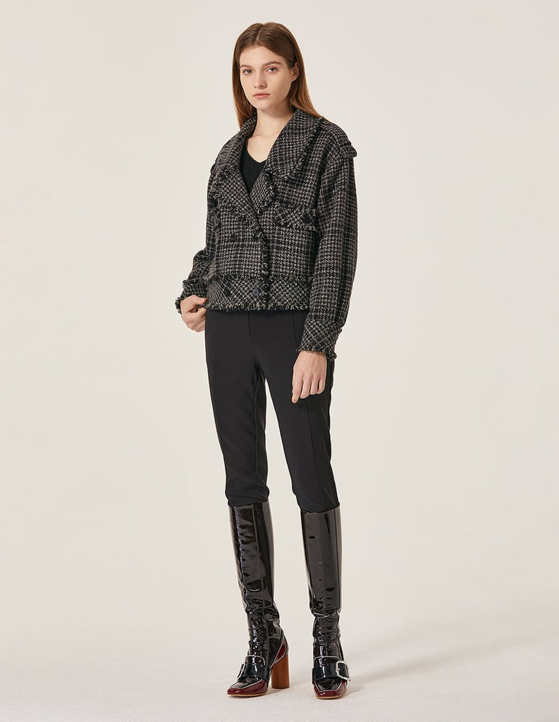MARYLING Grid Pattern Large Collar Double Breasted Short Jacket