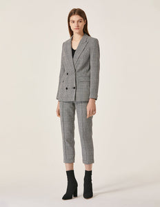 MARYLING Plaid Pattern Double Breasted Slim Fit Blazer