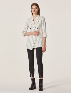 MARYLING Pinstripe Pattern Double Breast Half Sleeve Slim Fit Blazer