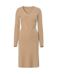 MARYLING Woolen Blend V neck Long Sleeve Knit Dress