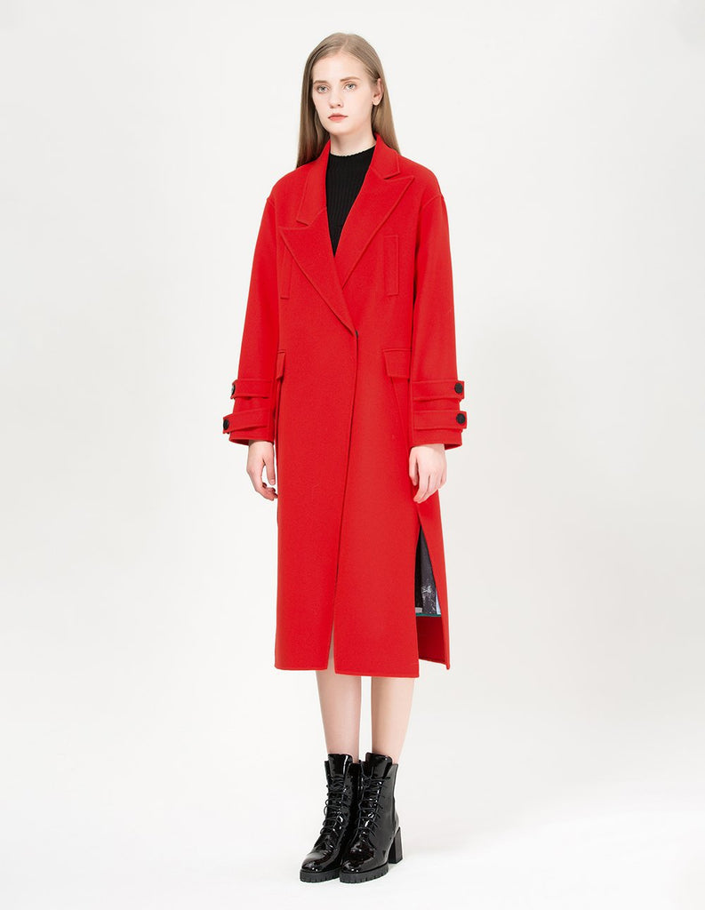 MARYLING Wool Blend Irregular Cutting Oversize Coat