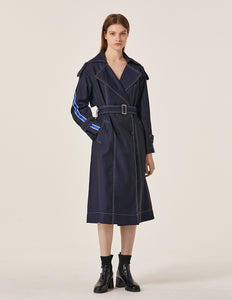 MARYLING Contrast Stitch Notch Collar Belted Trench Coat