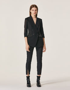 MARYLING Double Breasted See-Through Sleeve Blazer