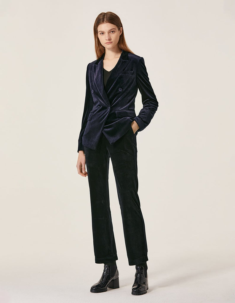 MARYLING Classic Velvet Double Breasted Slim Fit Blazer