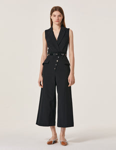 MARYLING Lapel Button Up Sleeveless Wide Leg Jumpsuit