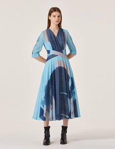MARYLING Chiffon Abstract Pattern Half Sleeve A-Line Midi Dress