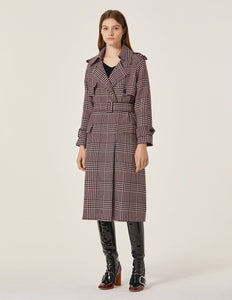 MARYLING Classic Plaid Pattern Lapel Belted Trench Coat