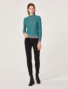 MARYLING Metallic Knit High Neck Pullover