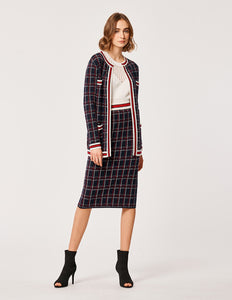 MARYLING Wool Plaid Pattern Contrast Piping Long Sleeve Long Cardigan