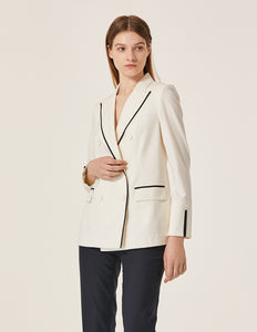 MARYLING Contrast Piped Double Breast Slim Fit Blazer