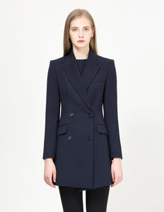 MARYLING Classic Double Breasted Slim Fit Long Blazer