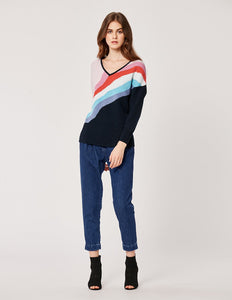 MARYLING Wool Contrast Candy Rainbow V Neck Long Sleeve Sweater