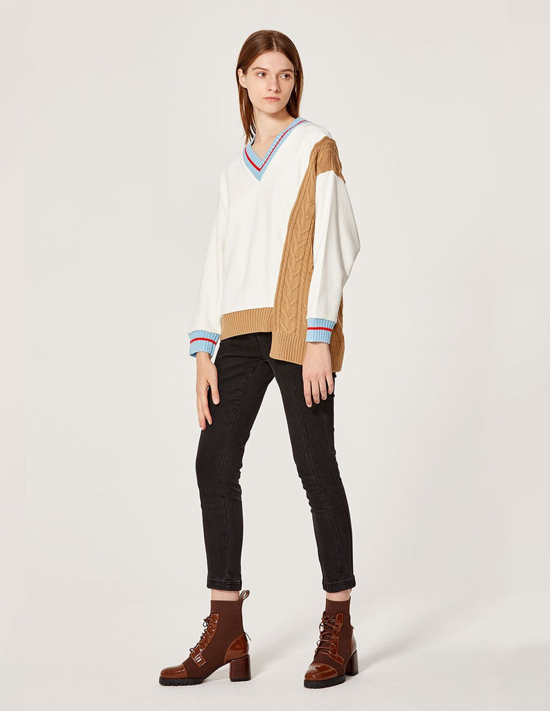 MARYLING Contrasted Splicing Knit V Neck Long sleeve Sweater