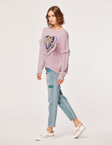 MARYLING Wool Heart Avocado Print Tassel Long Sleeve Sweater