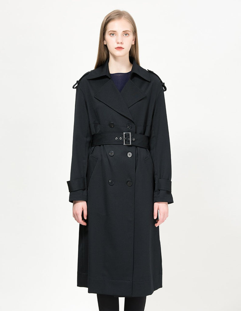 MARYLING Classic Double Breasted Belted Trench Coat